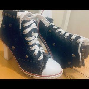 Punk Rock Converse-Style Sneaker Heels - Size 8